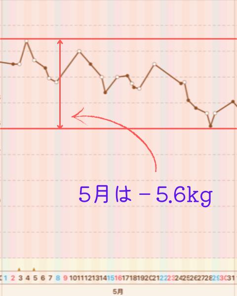 2か月間で10㎏痩せた体重グラフ3