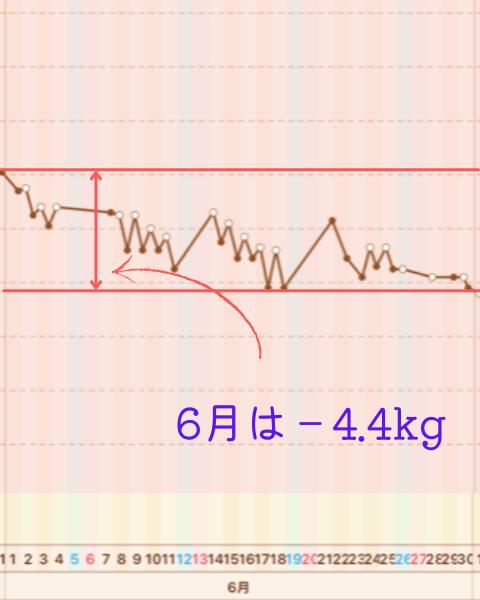 2か月間で10㎏痩せた体重グラフ2