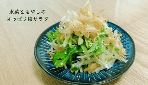 調味料3つだけ!もやしと水菜のさっぱり梅サラダ【糖質2.5g】