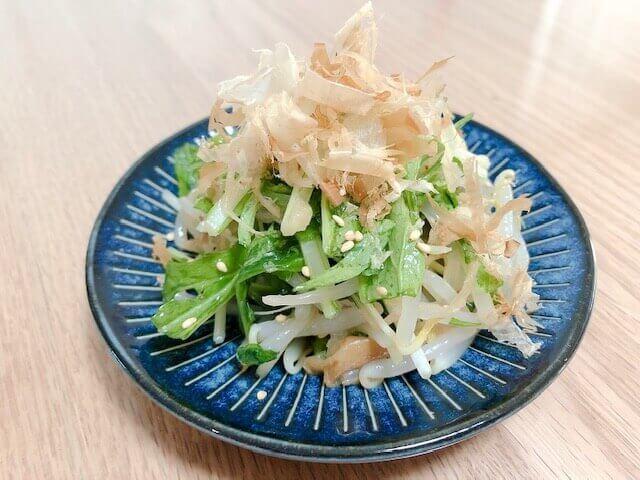 水菜ともやしのさっぱり梅サラダ 完成